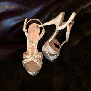 Shoes - Iridescent rhinestone heel sandals